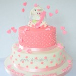 Cute sugar bunny pink first Birthday Cake made by 4s Cakes Dulwich croydon wedding cake makers