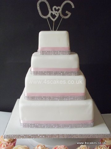 Four Tier Square Wedding cake by 4SCakes Bromley Wedding Cake makers