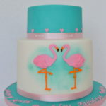 Pink and turquoise wedding cake by East Dulwich cake makers
