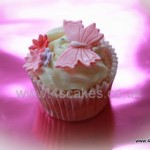 Single cup cake with butterfly