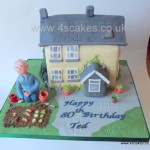 3D cottage 80th Birthday cake made by 4S Cakes Bromley Beckenham Wedding Cake makers