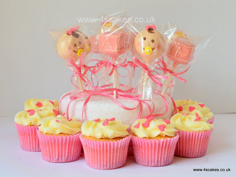 Baby Shower cake pops and cup cakes-by 4s Cakes, Beckenham and Bromley Wedding cake makes