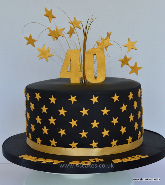 Black And Gold 40th Birthday Cake By Dulwich Makers