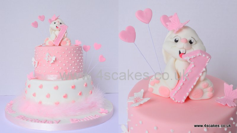 Cute bunny on a first birthday cake
