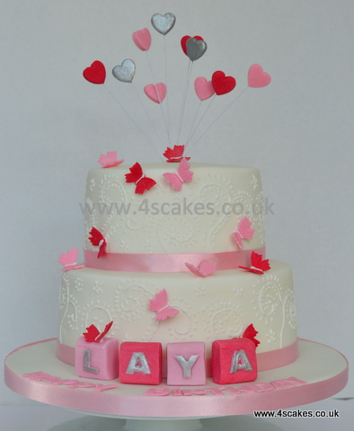 Hearts and Butterflies first Birthday cake