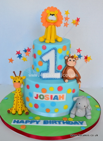 Jungle Safari theme first birthday cake by bromley london cake makers near croydon east dulwich and catford