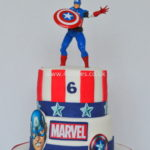 Marvel theme captain America cake by london cake maker