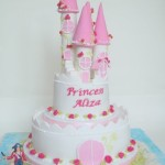 Pink Princess and Pirate theme castle Birthday cake made by 4S Cakes Bromley Wedding cake makers
