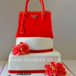 Safiano Leather red prada bag cake