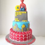 Spider man 3 tier cake
