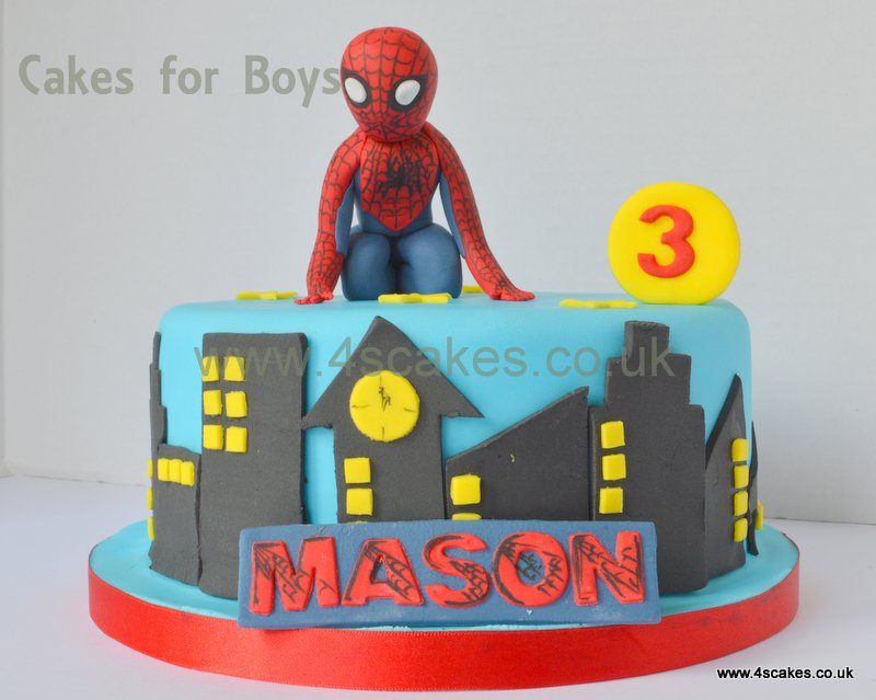 spider man theme Birthday cake by 4SCakes Bromley Wedding cake makers