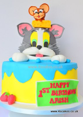 Tom and Jerry 1st birtday Cake made by 4s Cakes Bromley, Croydon cake makers