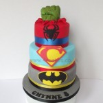 three tier super Hero cake