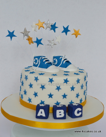 Baby shower cake for boy with stars by East Dulwich and Beckenham cake makers