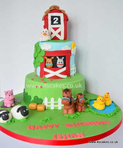 Farm theme birthday cake with sugar figures by 4S Cakes Greenwich