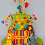 Jungle theme cake with sugar figures Dulwich cake makers